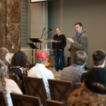 Ryan and Heather of Blessed Earth TN speaking at Belmont University