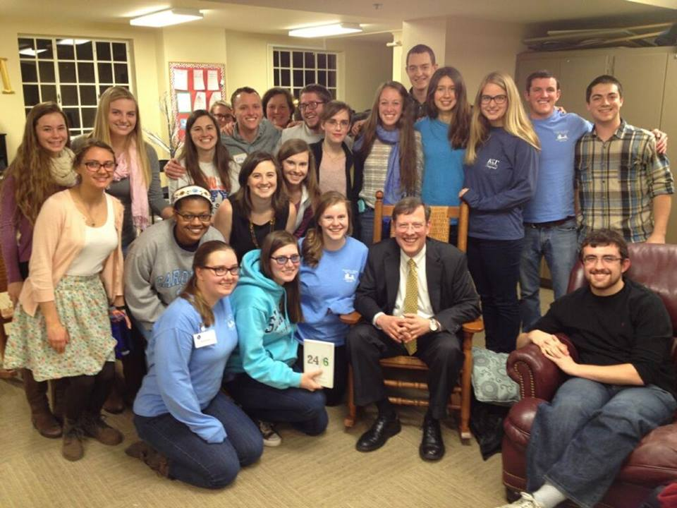 Matthew with Chapel Hill college students Feb 2015